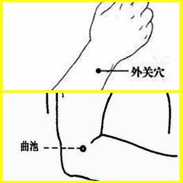 皮肤干燥:主要按揉外关穴、曲池穴
