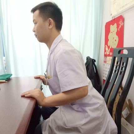 动作八:推桌后摆挺腰肌